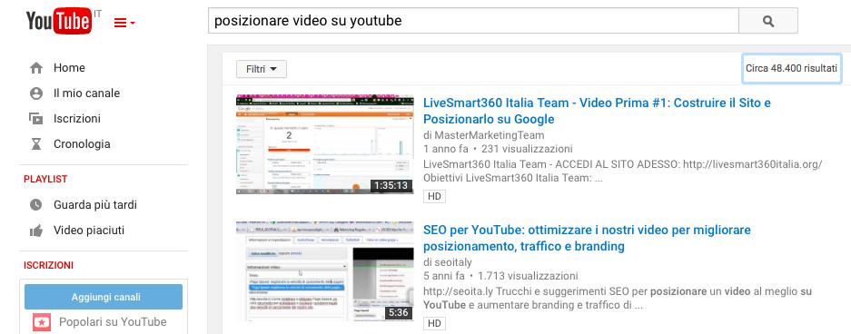 posizionare video su youtube