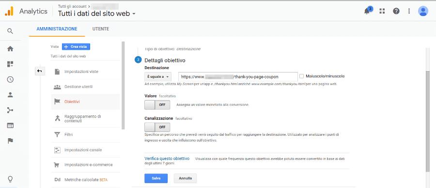 Google Analytics Obiettivo Destinazione
