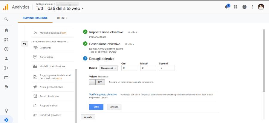 Google Analytics Obiettivo Eventi