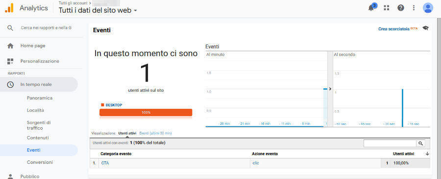 Google Analytics eventi tempo reale 1