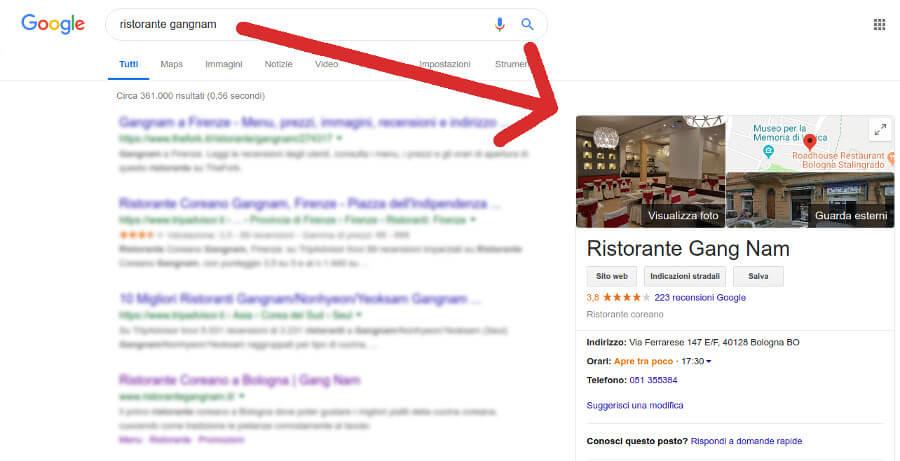 Esempio di ricerca locale con Google My Business
