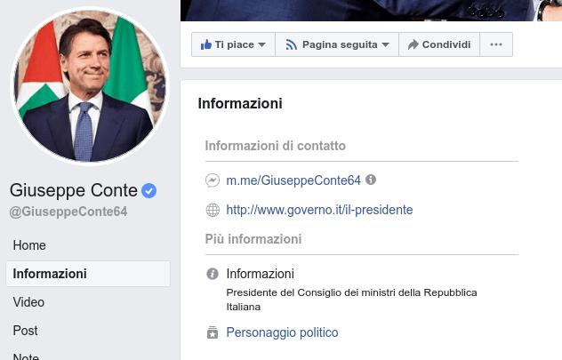 pagina facebook verificata di un politico