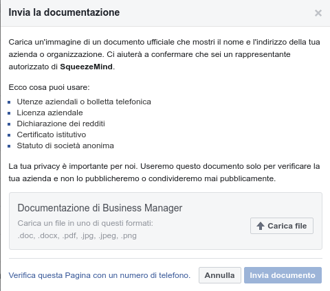 verifica pagina facebook con documento