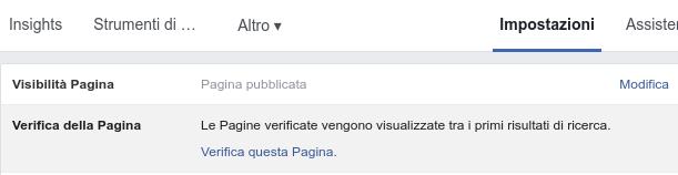 step 1 della verifica di una pagina facebook