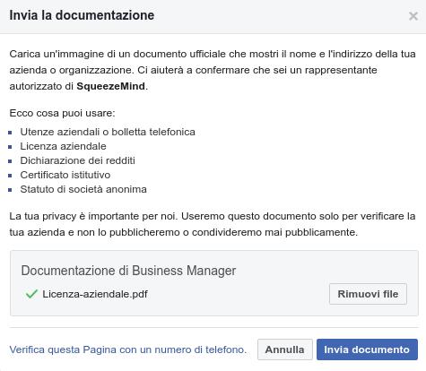step 3 di verifica della pagina facebook