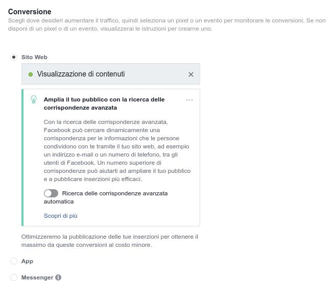 Obiettivo per conversione su campagna Facebook