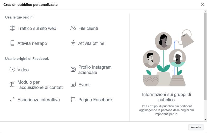 Creazione del pubblico personalizzato su Facebook