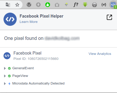 Facebook Pixel Helper di Google Chrome
