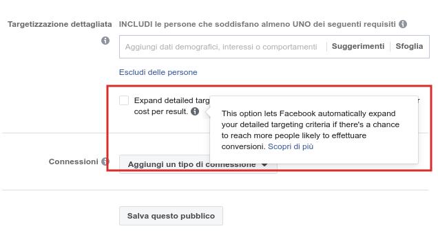 Rimozione spunta sull'aggiunta degli interessi Facebook