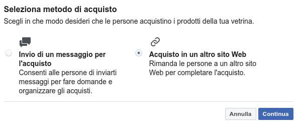 Metodo di acquisto prodotti sulla vetrina Facebook