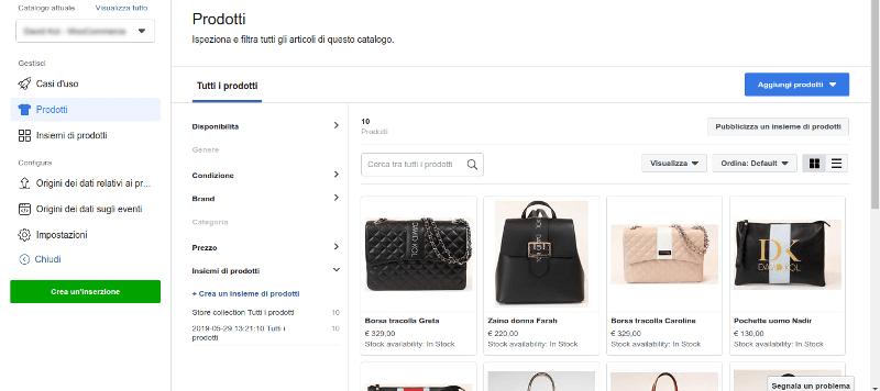Catalogo Facebook con prodotti