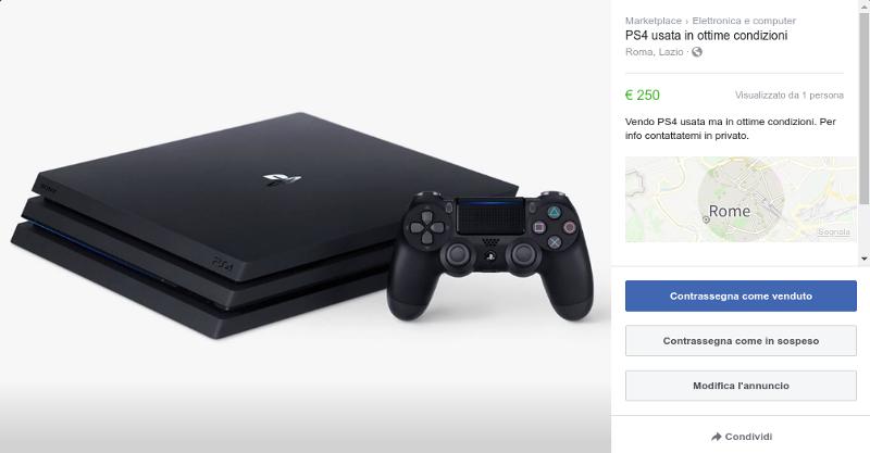 scheda prodotto Facebook marketplace
