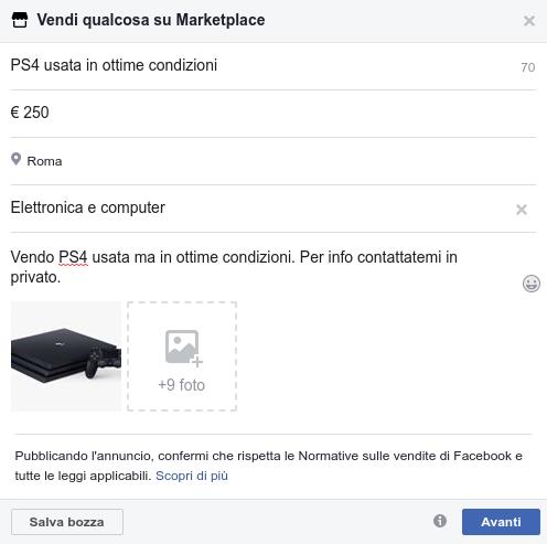 annuncio facebook marketplace