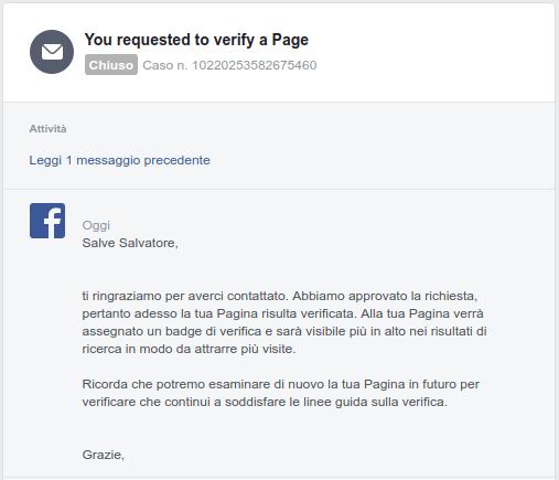 messaggio pagina facebook verificata