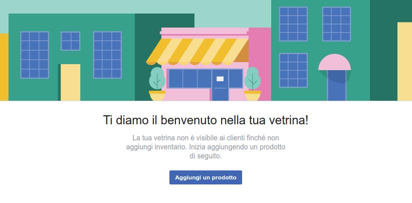Vetrina prodotti Facebook