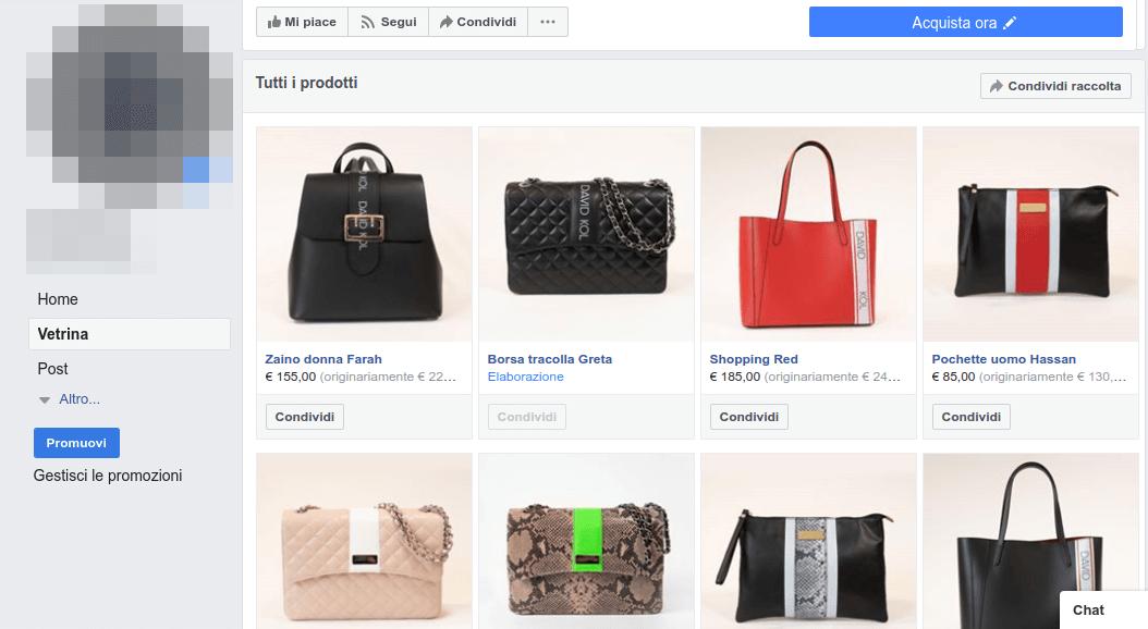 Vetrina piena di prodotti su Facebook