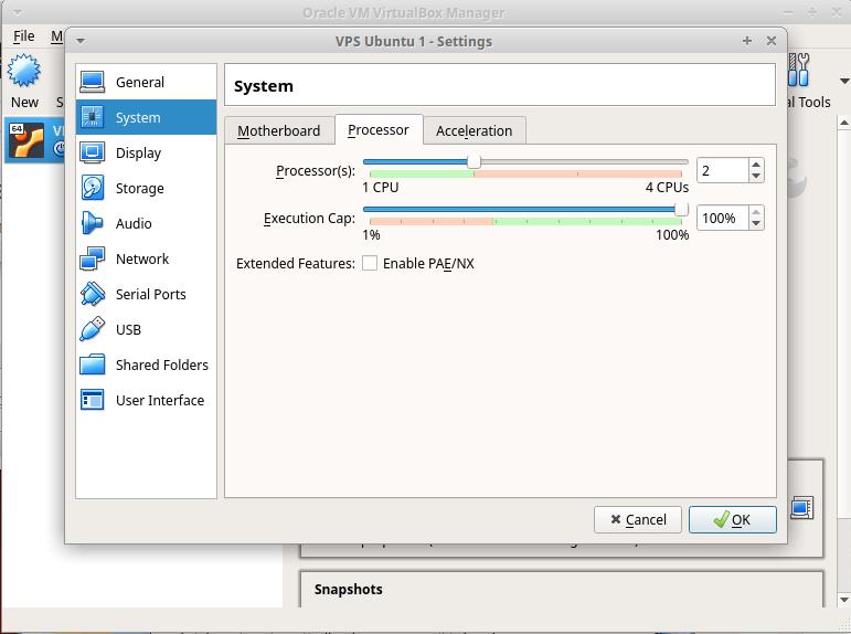 selezione numero CPU macchina virtuale