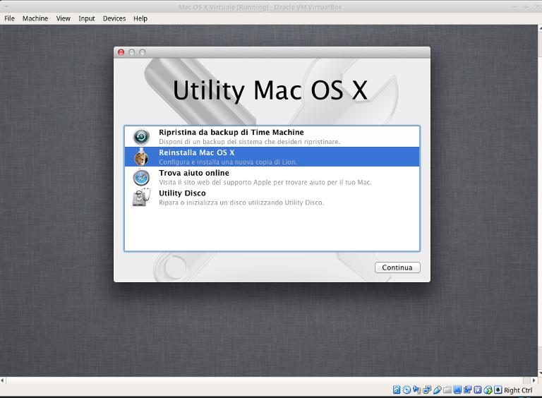macchina virtuale mac installazione