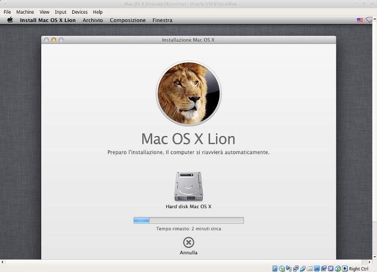 macchina virtuale mac installazione in corso