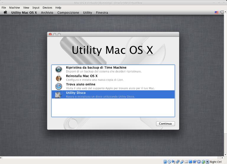 macchina virtuale mac utility disco