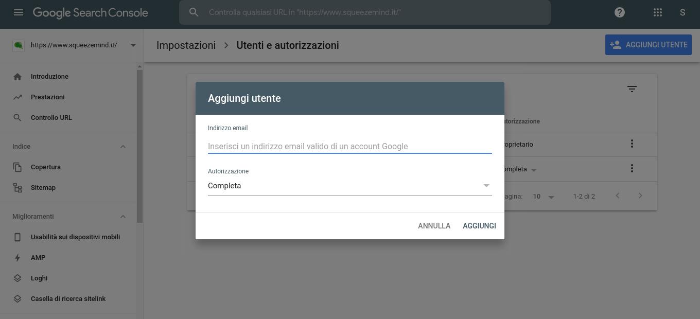 aggiunta utente su search console