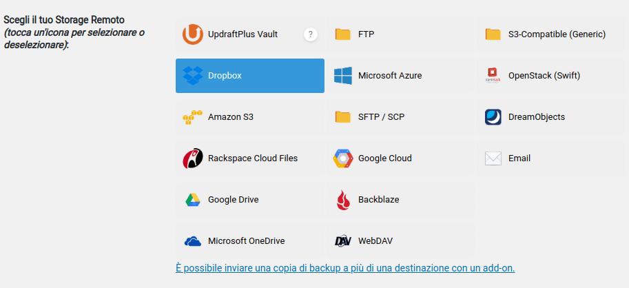 backup esterno con politica backup con updraftplus per WordPress