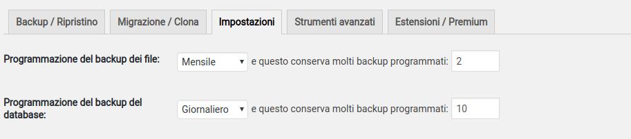 politica backup con updraftplus per WordPress