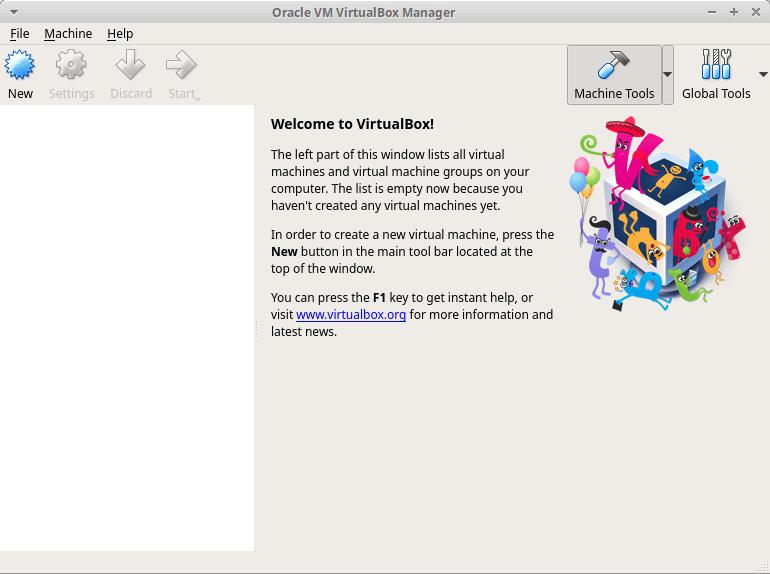 pagina iniziale di VirtualBox
