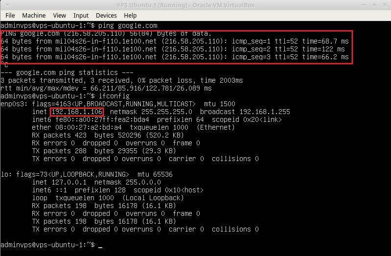 test funzionamento macchina virtuale linux