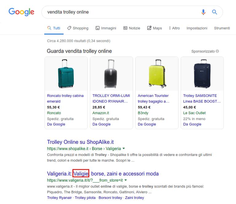 serp Google con sinonimi