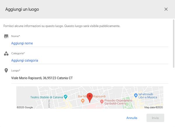 box aggiunta luogo google maps