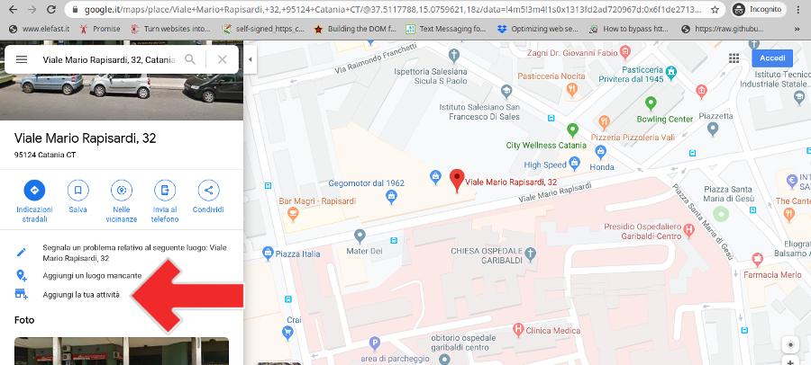 aggiunta attività su Google Maps