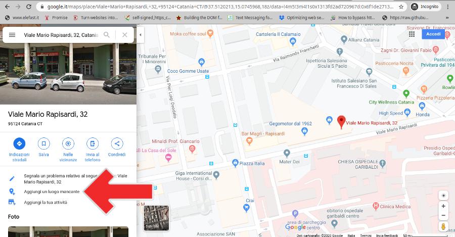 Aggiunta luogo mancante su Google Maps