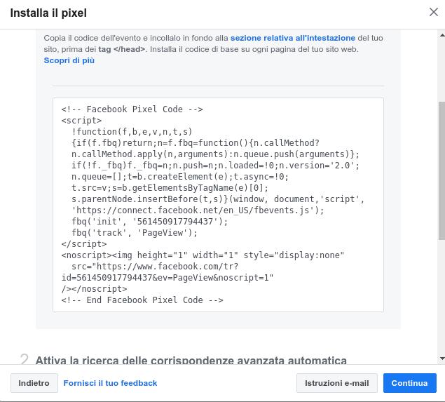 codice Facebook pixel in Javascript